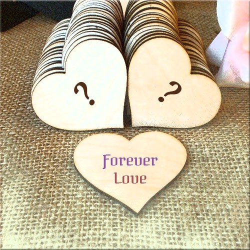 Forever Love Wood Hearts Pics With  Couple Alphabets
