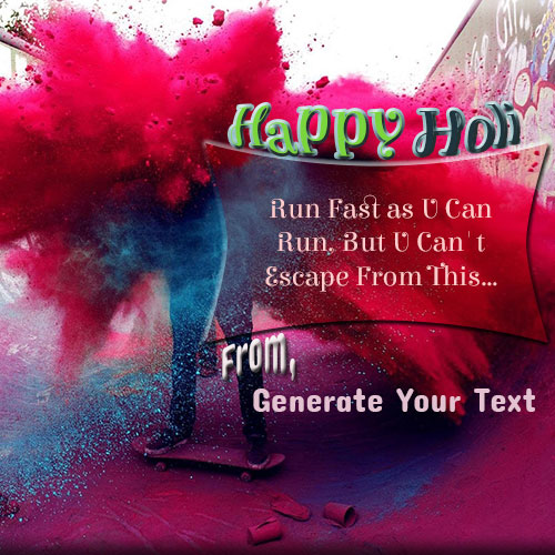 Colorful Happy Holi Wishes Picture With Your Name