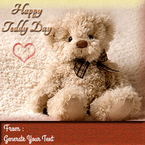 Happy Teddy Day Greetings With Your Custom Text