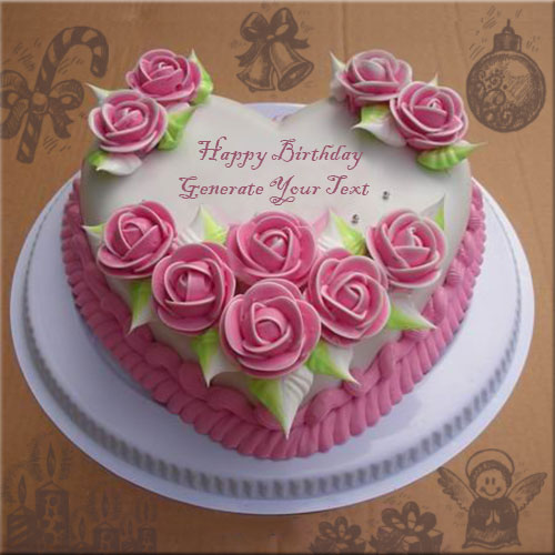Heart Shape Beautiful Birthday Cake Name Pics