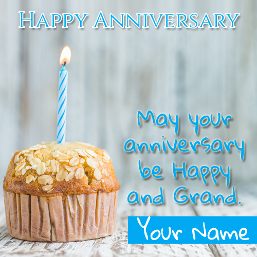 Happy Anniversary Candle Cake Greeting With Name