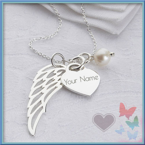 Print Name On Sterling Angel Wing Heart Necklace Pics