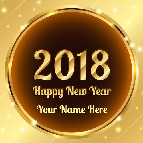 Golden New Year 2018 Greeting With Your Name