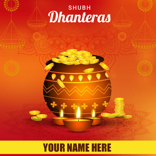 Write Name On Subh Dhanteras Wishes Profile Pic