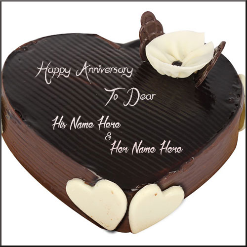 Chocolate Heart Shape Anniversary Cake With Couple Name