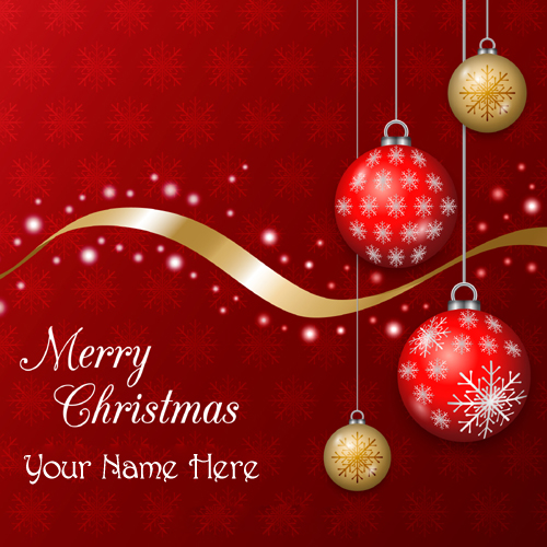 Christmas Greeting with Red and Golden Baubles Name Pic