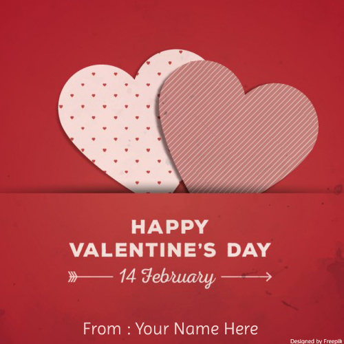 Happy Valentines Day Couple Heart Greeting With Name