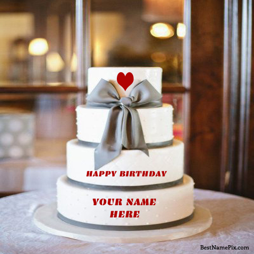 Write Your Name On Big Four Step Birthday Cake Picture