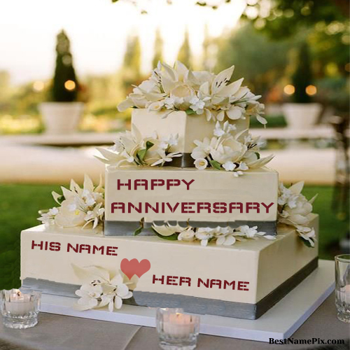 Write Your Name On Big Wedding Anniversary Cake Online