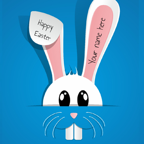 Happy Easter Day Cute Bunny Greeting With Name