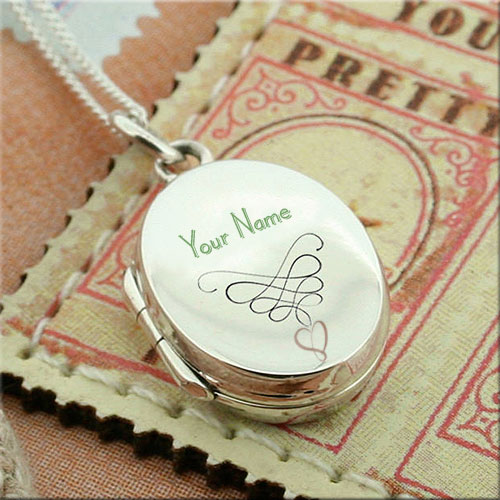 Generate Gold Round Shape Locket Pics With Name