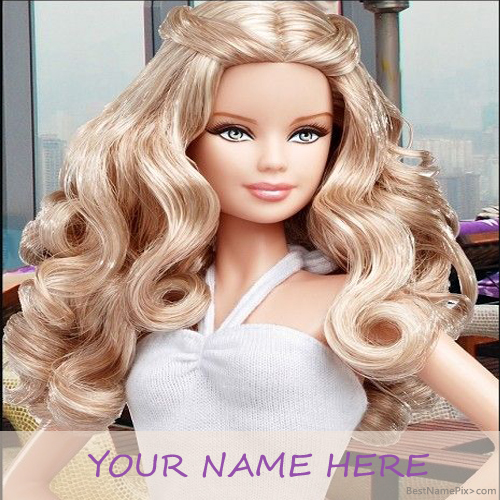 Write Your Name On Cute Stylist Doll Picture Online