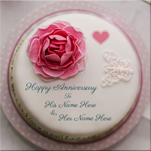 Rose Happy Anniversary Cake Pics With Couple Name