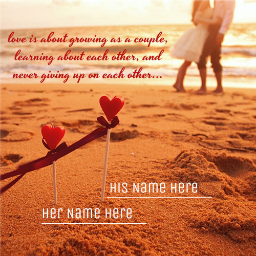 Create Name On Romantic Couple At Beach Picture
