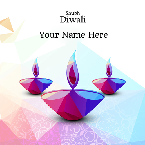 Happy Diwali Colorful Diya Greeting Card With Your Name