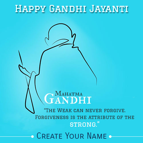 Happy Gandhi Jayanti Greeting Pics With Custom Name