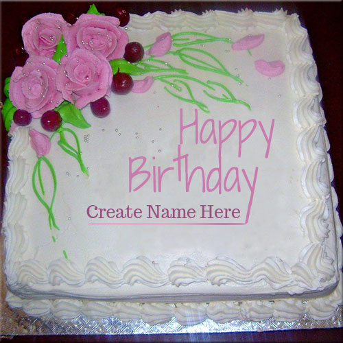 Happy Birthday Roses Cake Picture With Your Name