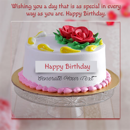 Online Print Name On Happy Birthday Floral Cake Picture
