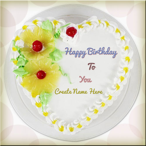 Print Name On Heart Shape Pineapple Birthday Cake Pics