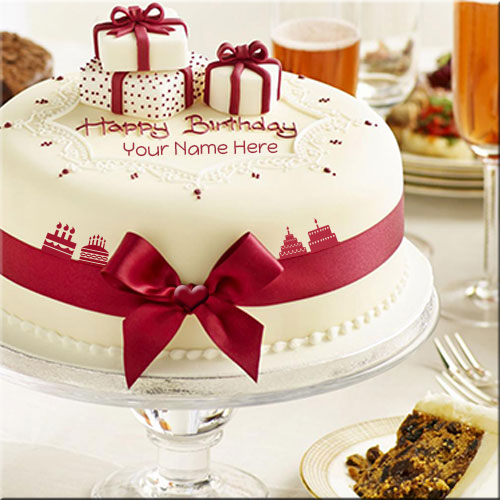 Write Your Name Happy Birthday Cake With Gifts