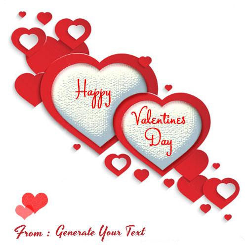 Happy Valentines Day Red Couple Hearts With Name