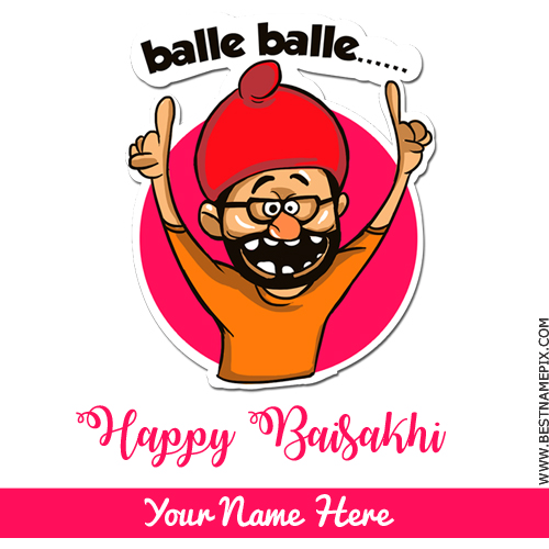 Happy Baisakhi 2018 Cute Greeting With Your Name