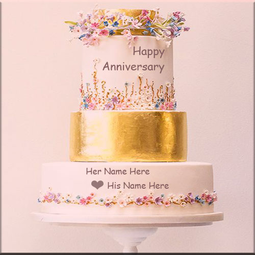 Metallic Happy Wedding Anniversary Cake With Name