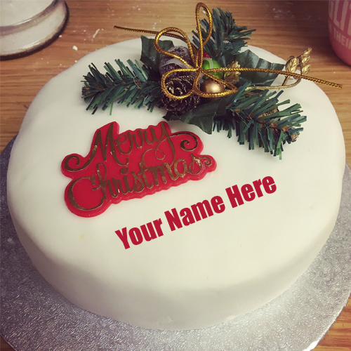 Write Name On Merry Christmas Decorative Wishes Cake