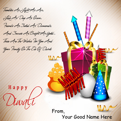 Happy Diwali Wishes Crackers Greeting Name Pictures