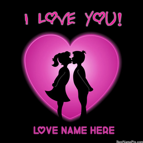Write Your Name On Kiss Couple Heart Picture