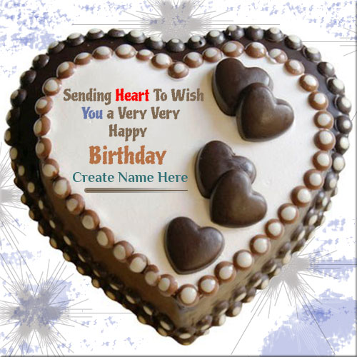 Heart Shape Chocolate Birthday Cake With Custom Name