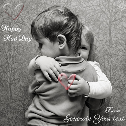 Happy Hug Day Cute Baby Couple Image With Your Name