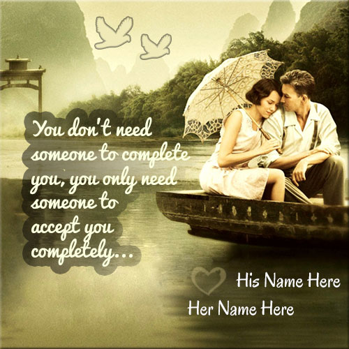 Online Print Name On Romantic Love Couple Picture