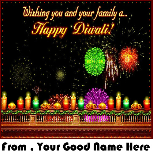 Family Wishes Happy Diwali Greeting Name Pictures