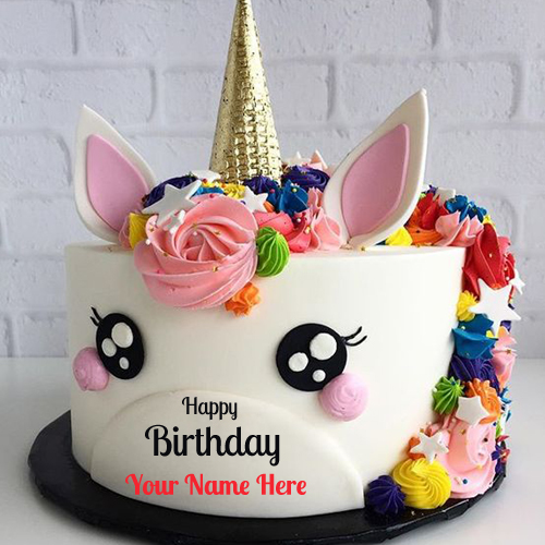 Unicorn Happy Birthday Wishes Cake With Your Name