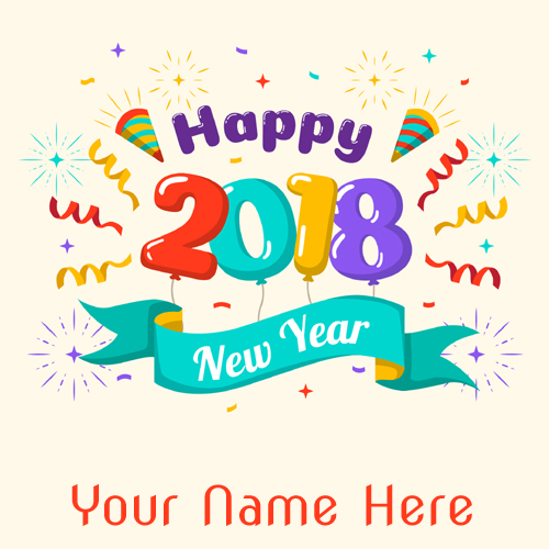 Colorful New Year 2018 Whatsapp DP With Your Name