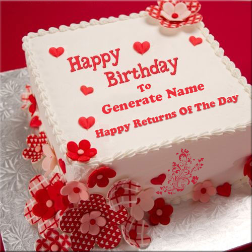 Happy Returns Of The Day Cake With Your Name