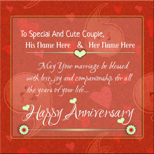 Print Couple Name On Happy Anniversary Wishes Card Pics
