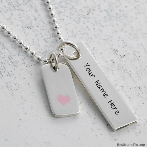Write Your Name On Silver Pendant Picture Online