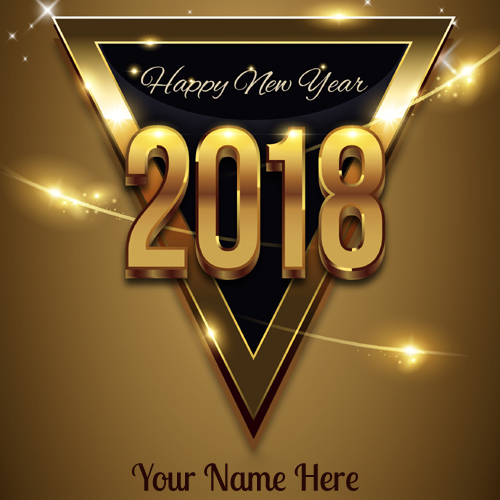 Happy New Year 2018 Wishes Golden Greeting With Name