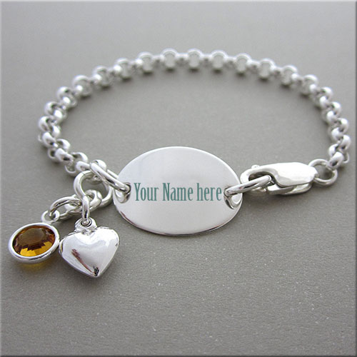 Online Print Name On Silver Chain Bracelet Picture