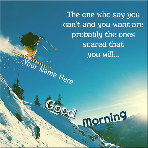 Generate Good Morning Skiing Picture With Name