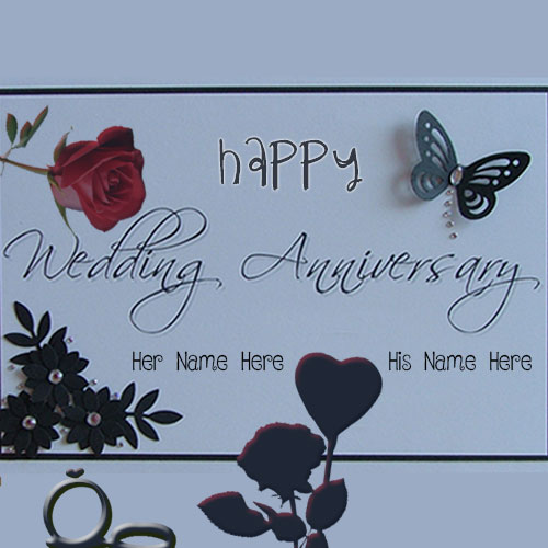 Happy Wedding Anniversary Butterfly Card Name Pics
