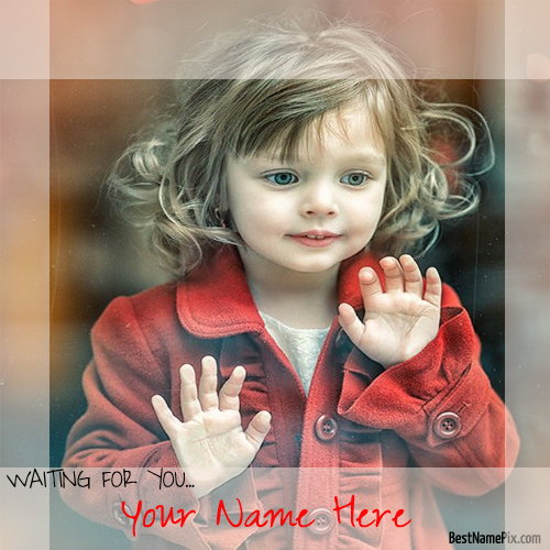 Write Your Name On Waiting Cute Girl Picture Online