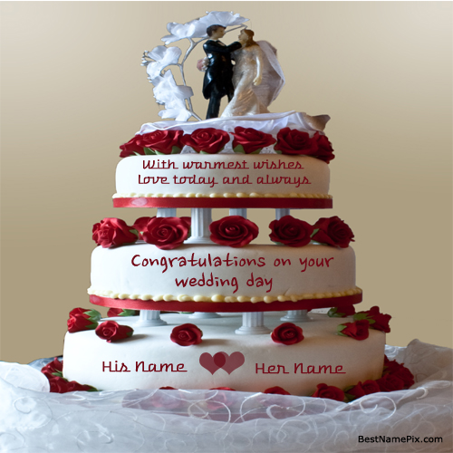 Write Your Name On Big Rose Wedding  Cake Wishes Pictur