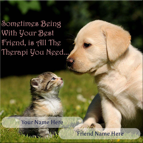 Write Name On Cute Dog And Cat Friendship Picture